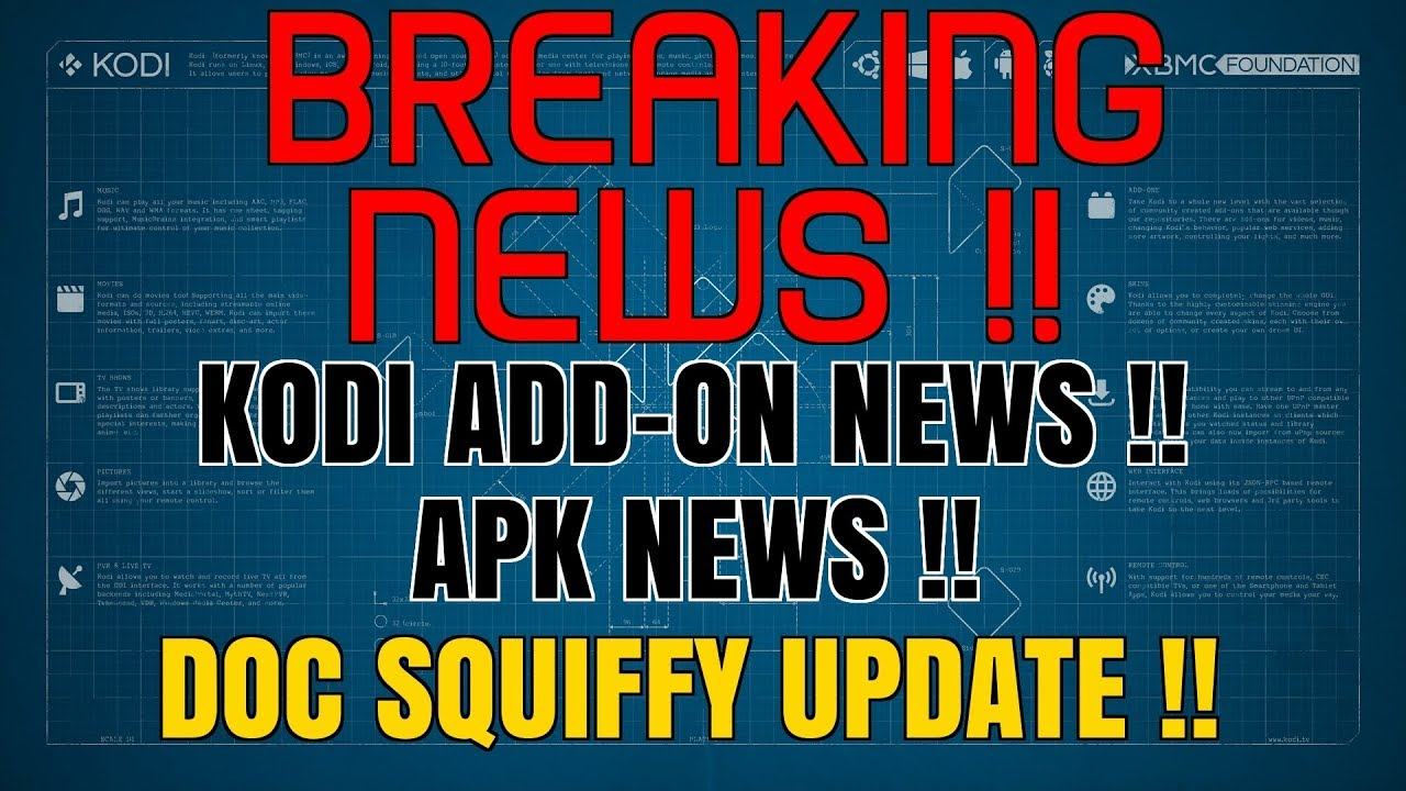 KODI NEWS – KODI 18 😍 DOC SQUIFFY UPDATE 🔥 APK'S & BUILDS 👍