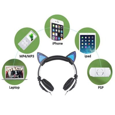 SPECIAL OFFER –  Novelty Light Phone Headphones Flashing Foldable Glowing Computer Gaming Cat Ear Earphone Headset  =  £28.8