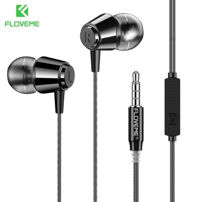 SPECIAL OFFER –  Floome Floveme / In-ear Headphones Wired 1.2m Bass Line Mobile Phone Dedicated Line Control Headset New  =  £2.48
