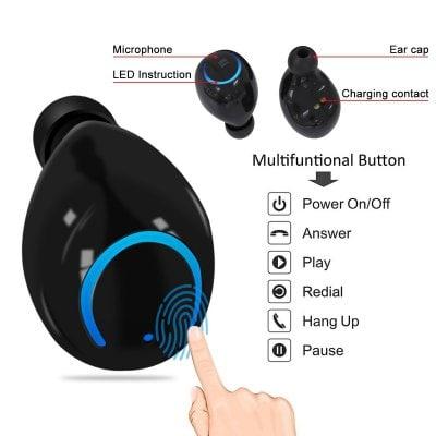SPECIAL OFFER –  Q18 Binaural Bluetooth Headset Mini Wireless Ultra Small To Ear Bluetooth Earbuds Sports Headphones In-ear HBQ  =  £19.11