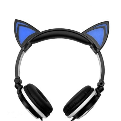 SPECIAL OFFER –  Cartoon Cat Ear Head-Mounted Luminous Foldable Mobile Phone Music Headset  =  £11.39
